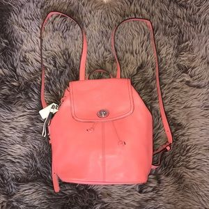 Coach coral leather mini backpack